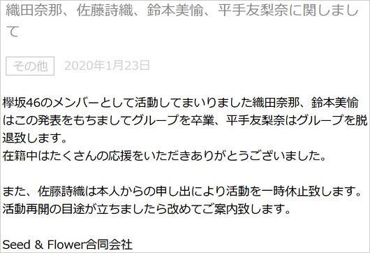 欅坂46 脱退 卒業 活動休止